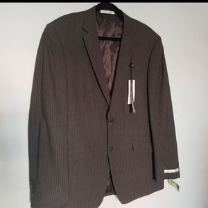 NWT brown pinstripe 2 button blazer 44r